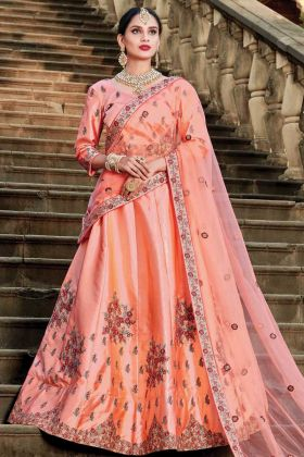 Peach Color Bridal Wedding Wear Pure Satin Lehenga Choli