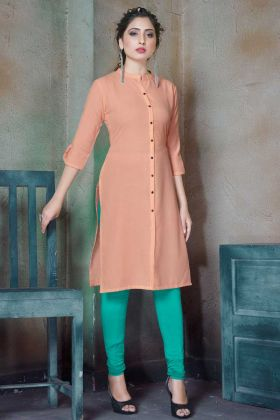 Peach Color Cotton Plain Stylish Readymade Kurti