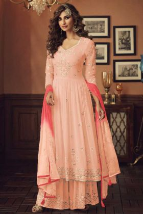 Peach Color Foux Georgette Pakistani Style Plazzo Suit