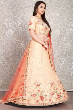 Peach Color Georgette Lehenga Choli In Thread Embroidery Work