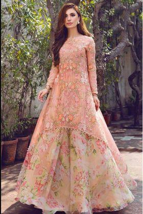 Peach Color Heavy georgette Designer Pakistani Stylish Salwar Suit