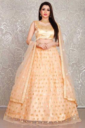 Peach Color Net Lehenga Choli For Bridal In Thread Embroidery Work