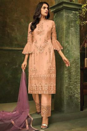 Peach Color Pakistani Style Butterfly Net Suit