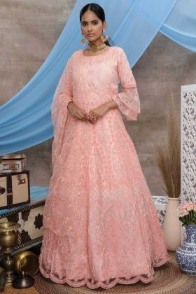 Peach Color Party Wear Designer Anarkali Style Gown