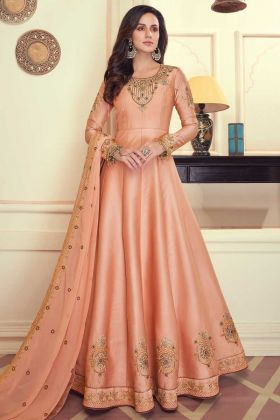 Peach Color Party Wear Heavy Maslin Silk Anarkali Suit