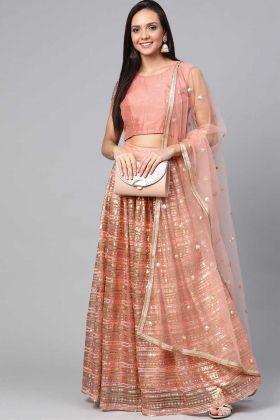 Peach Color Party Wear Latest Designer Fancy Lehenga Choli