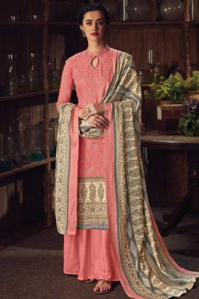 Peach Color Party Wear Pure Wool Pashmina Plazzo Suit