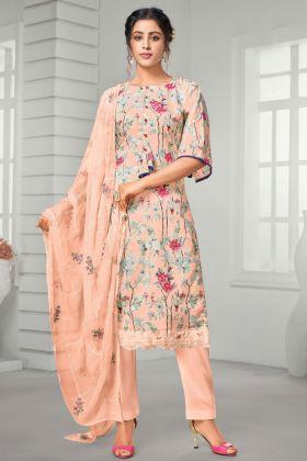 Peach Color Pure Jam Cotton Plazzo Suit