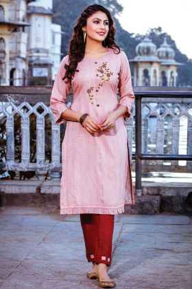 Peach Color Readymade Kurti With Red Color Bottom