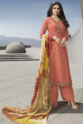 Peach Color Royal Crepe Fabric Salwar Suit Online