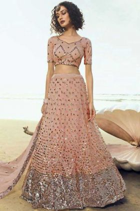 Peach Color Soft Net Beautiful Looking Party Wear Lehenga Choli