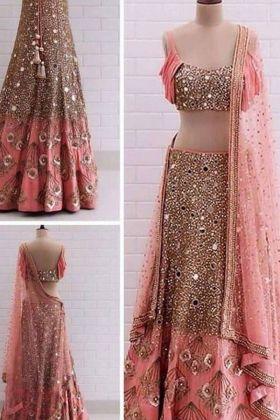 Peach Color Soft Taffeta Silk With Mirror Work Latest Design Lehenga Choli