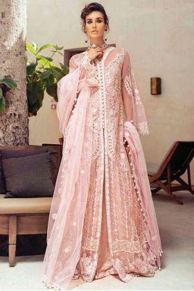Peach colour Pakistani salwar kameez Butter Fly Net Fabric Heavy Embroidry Work