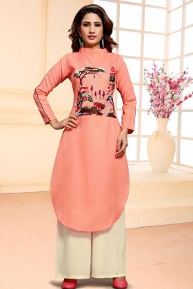 Peach Cotton Designer Churidar Dress Material
