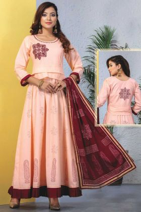 Peach Heavy Reyon Mal Cotton Readymade Kurti With Dupatta