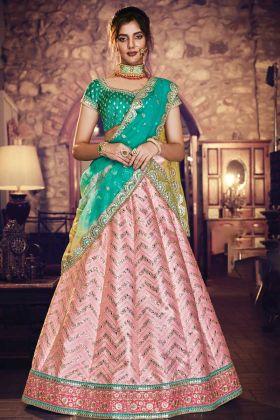Peach Satin Silk Stylish Wedding Lehenga Choli
