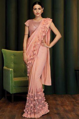 Peach Silk Georgette Party Wear Saree In 3d Applique Flowers