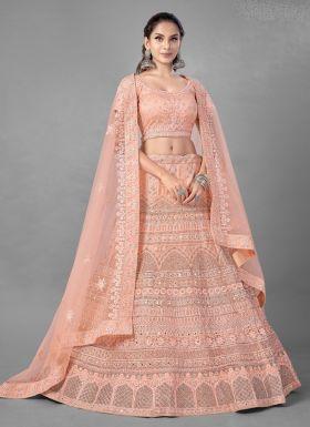 Peach Soft Net Wedding Lehenga Choli