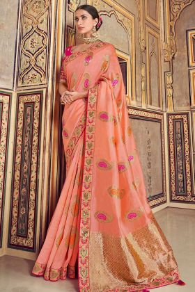 Peach Zari Work Art Silk Traditional Designer Saree