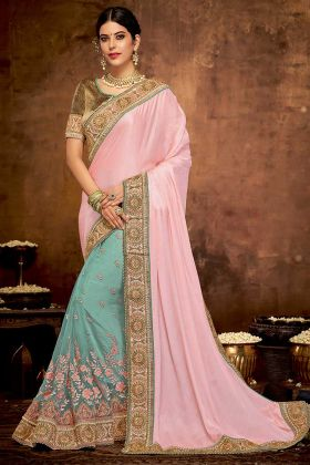 Peach and Green Color Zari Embroidery Work Satin Georgette Party Wear Saree