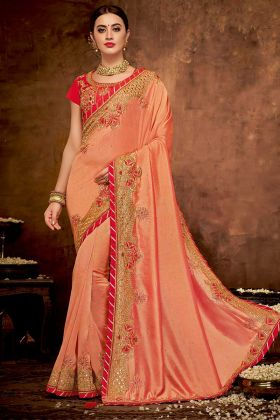 Peach and Red Color Dual Tone Silk Georgette Saree With Zari Work