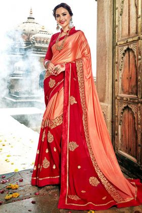 Peach and Red Color Fancy Fabric Saree With Embroidery Work