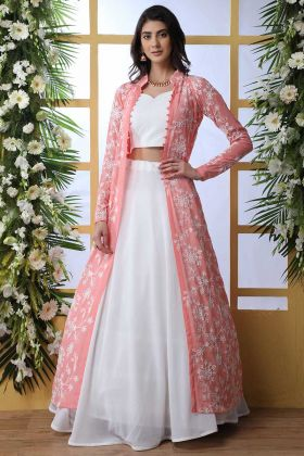 Peach and White Latest Party Wear Jacket Lehengas for Women