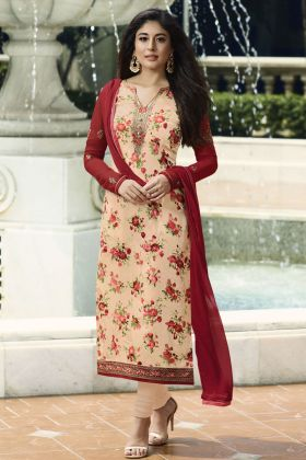 Peach Brasso Stright Salwar Suit