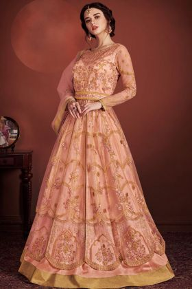 Peach Butterfly Net Gown Style Salwar Kameez