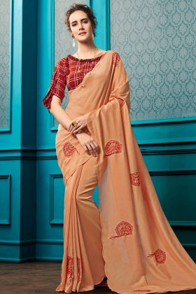 Peach Chinese Georgette Fancy Embroidery Saree
