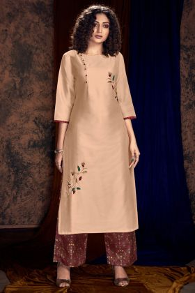 Peach Color Art Silk Palazzo Kurti With Hand Work