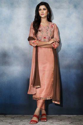 Peach Color Art Silk Straight Salwar Kameez With Resham Work
