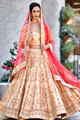 Peach Color Bridal Lehenga Choli