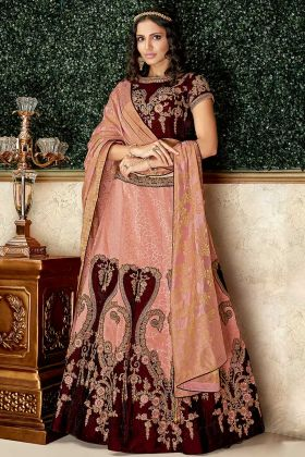Peach Color Brocade Heavy Lehenga Choli With Zari Embroidery Work