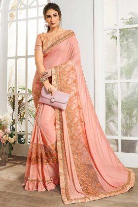 Peach Color Designer Saree Lycra And Net