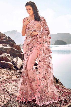Peach Color Digital Net Saree With Cutdana Heavy Work