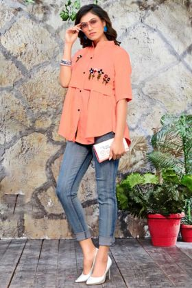 Peach Color Galaxy Cotton Western Tops With Embroidery Hand Work