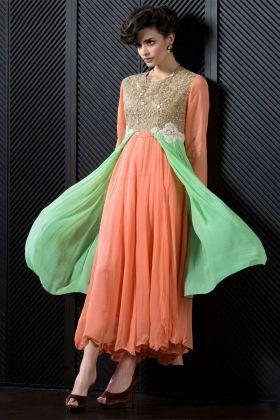 Peach Color Georgette Kurti