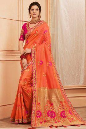 Peach Color Heavy Banarasi Silk Banarasi Saree With Hand Fancy Embroidery Work