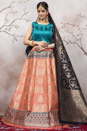 Peach Color Jacquard Silk Lehenga Choli Online