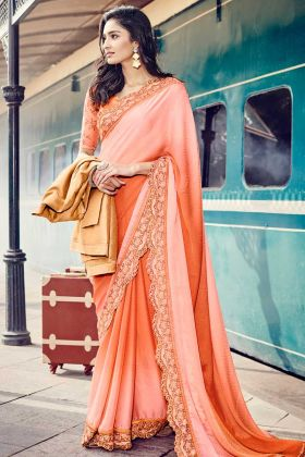 Peach Color Jacquard Wedding Saree With Wave Border