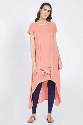 Peach Color Linen Kurti