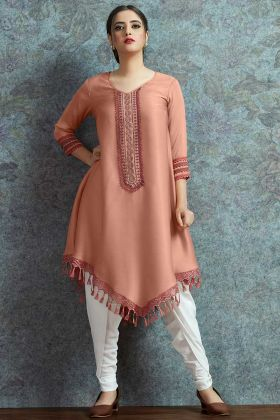 Peach Color Modal Satin Indo Western Kurti Set Resham Embroidery Work