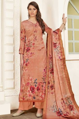 Peach Color Modal Satin Palazzo Salwar Suit With Thread Embroidery