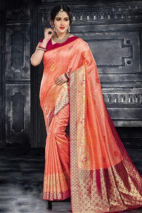 Peach Color Silk Traditional Saree