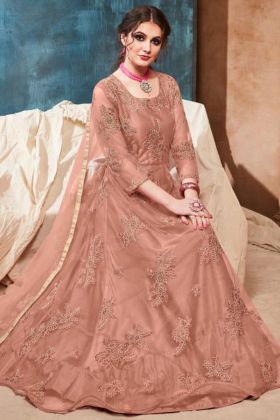 Peach Color Net Anarkali Salwar Suit With Embroidery Work