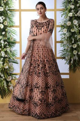 Peach Color Net Anarkali Style Long Gown With Thread Embroidery Work