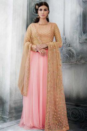 Peach Color Net  Gown Style Anarkali Salwar Suit