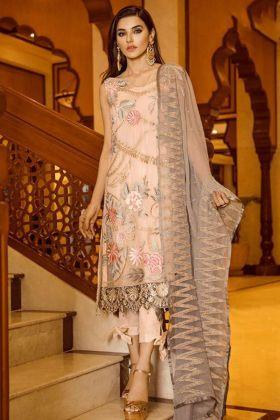 Peach Color Pakistani Salwar Kameez Chiffon Fabric