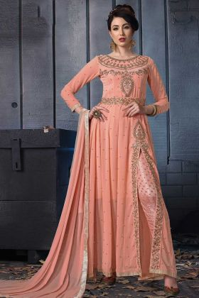 Peach Color Pant Style Georgette Anarkali Salwar Suit With Zari Embroidery
